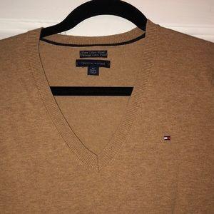Tommy Hilfiger XS Tan Long Sleeve V-Neck Top